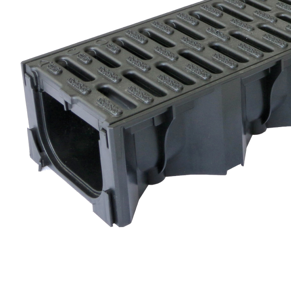 ACO HexDrain Black Plastic Grating Channel